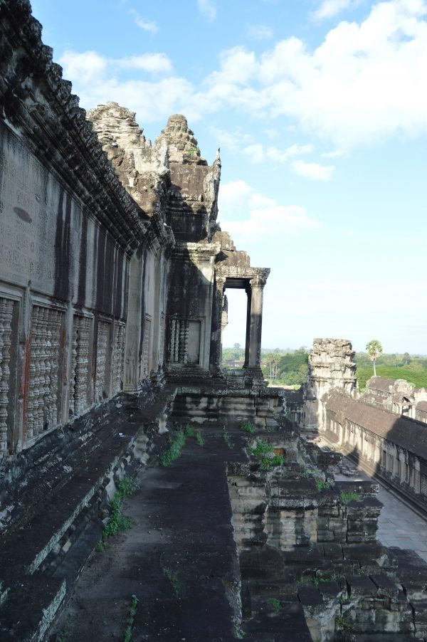 An outer view of an entrance to the uppermost terrace of the Angkor Wat Temple in Siem Reap, Cambodia