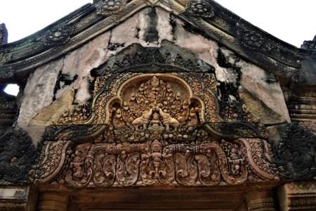West-facing pediment of the east gopura of the middle enclosure depicting Gaja Lakshmi - wife of Vishnu and goddess of wealth