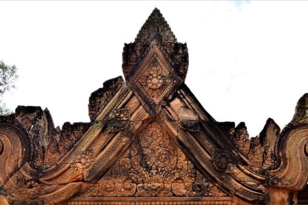 Pediment of the gopura located on the east side of the middle enclosure of the Banteay Srei temple