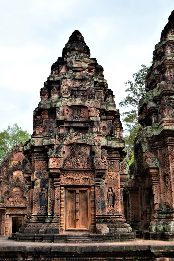 West-facing facade of the north sanctuary tower located inside the inner enclosure of the Bantaey Srei temple, Siem Reap, Cambodia