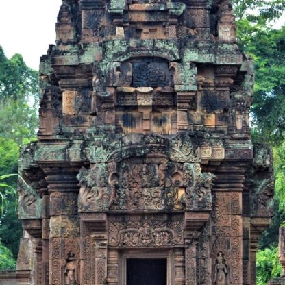 East-facing facade of the south sanctuary tower located inside the inner enclosure of the Bantaey Srei Temple, Siem Reap, Cambodia