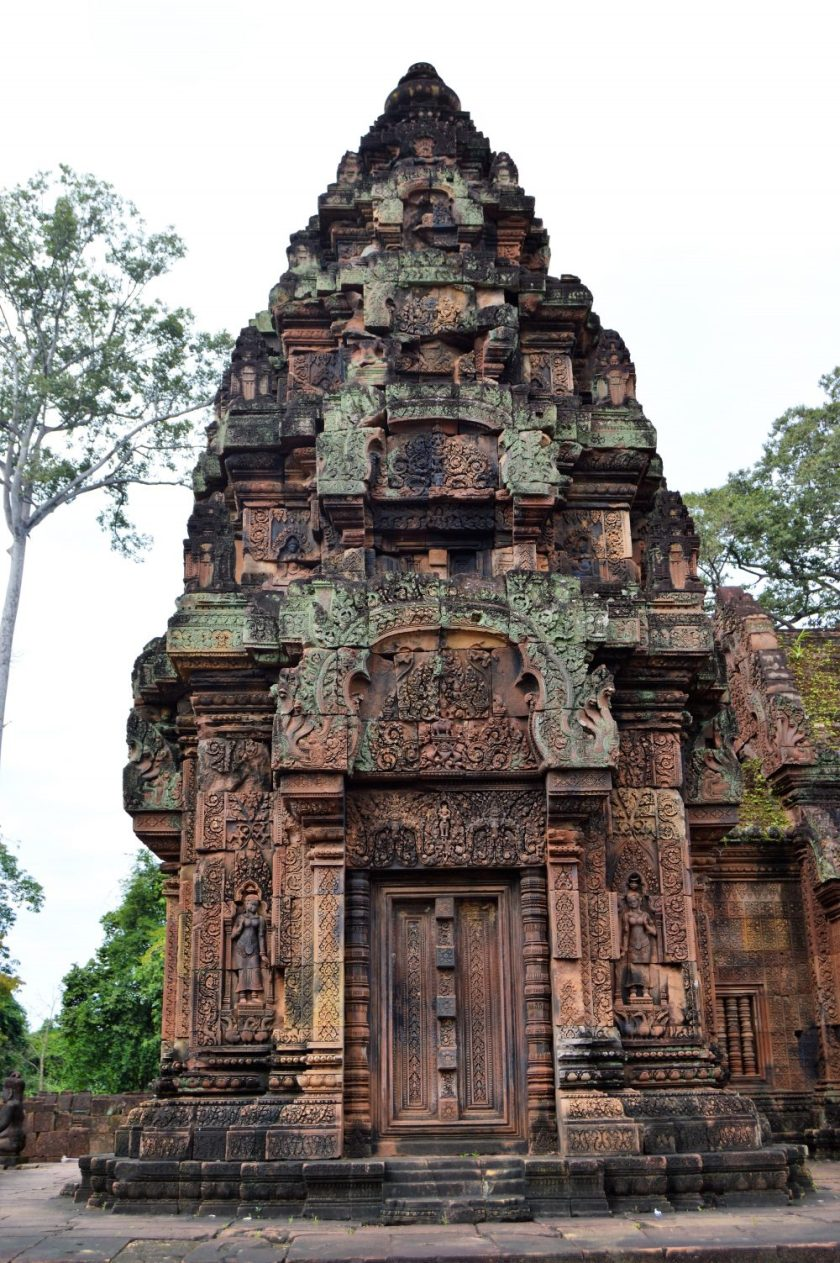 South-facing facade of the south sanctuary tower located inside the inner enclosure of the Bantaey Srei temple, Siem Reap, Cambodia