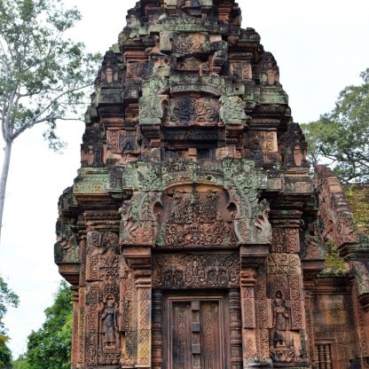 South-facing facade of the south sanctuary tower located inside the inner enclosure of the Banteay Srei Temple in Siem Reap, Cambodia