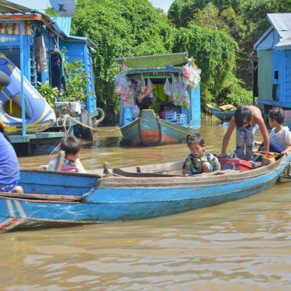 Floating shops on Tonlé Sap, Cambodia