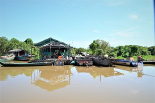 A Floating House in Tonlé Sap Lake, Cambodia