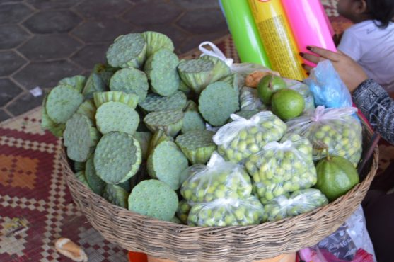 Lotus fruits and seeds on sale in rural Cambodia