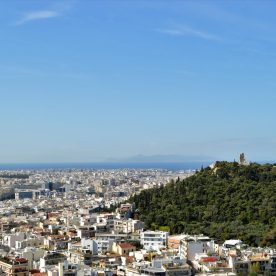 A view of Athens showing the Philopappos hill and monument
