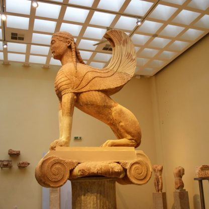 Naxian Sphinx on display at the Delphi Archaeological Museum, Delphi, Greece
