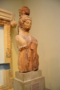 Siphnians Treasury caryatid on display at the Delphi museum