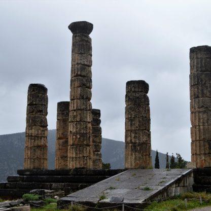 Surviving columns of the Temple of Apollo in Delphi, Greece