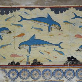 Dolphins fresco found in Queen's Megaron at the archaeological site of Knossos in Crete, Greece