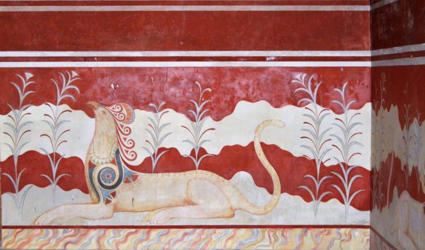 Griffin Fresco in the Throne Room at Knossos in Crete, Greece
