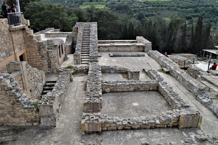 Ruins of a multi-storied structure at the Knossos Palace in Crete, Greece