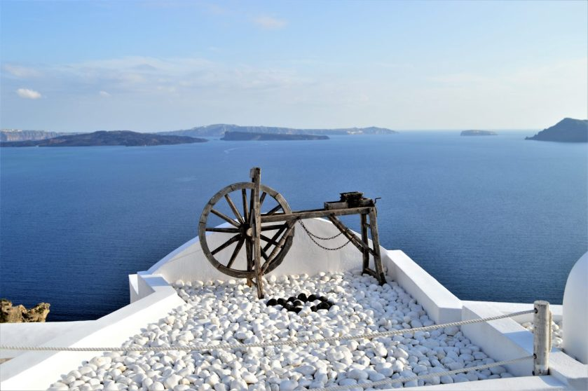 Spinning Wheel of Oia Village on the island of Santorini in Greece