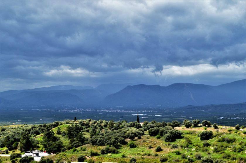 A view of the surroundings from the Mycenae citadel in Greece