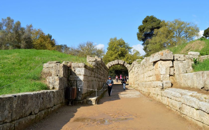 Entrance to the ancient Olympic Stadium in Olympia, Greece
