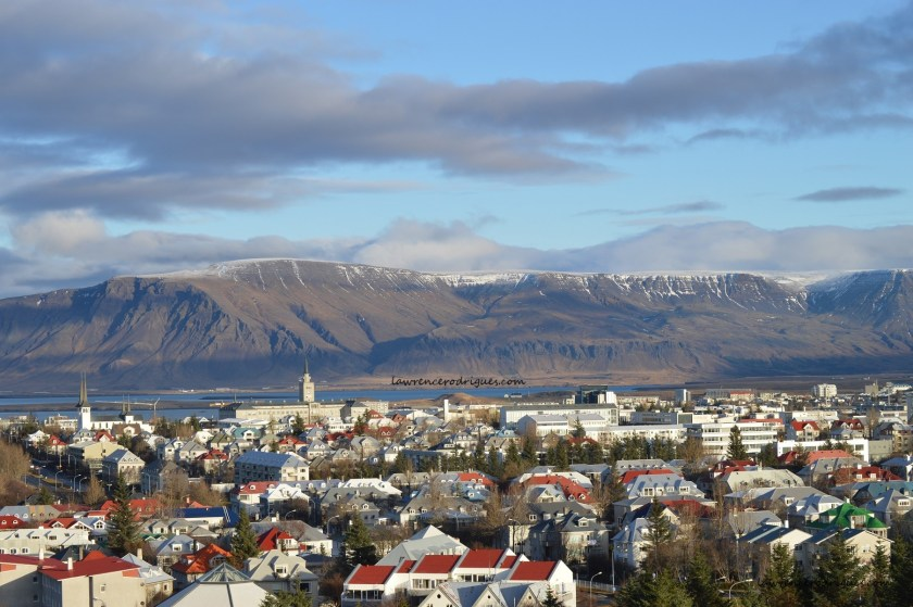 A view of the city of Reykjavik from the Pearl