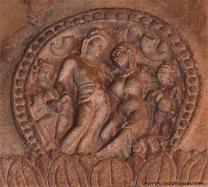 Bas-relief of a romantic couple  carved into a mukhamantapa pillar of the Durga Temple at Aihole in Karnataka, India