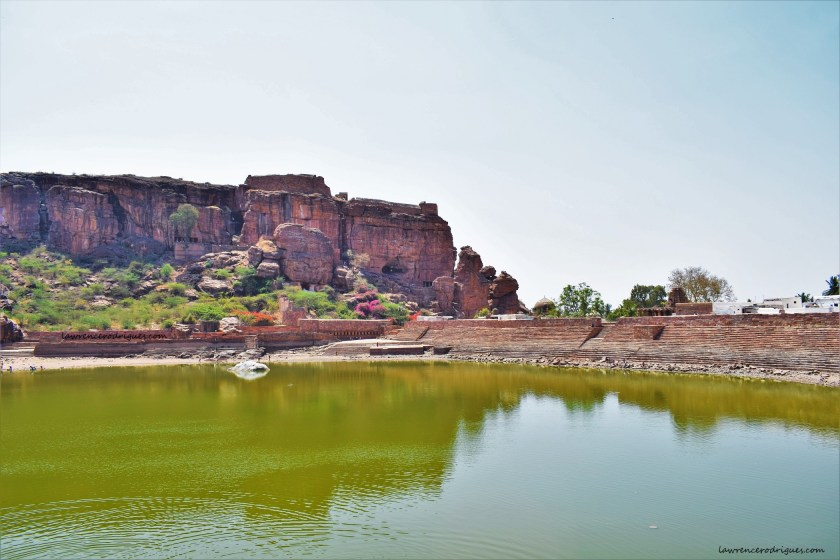 Agastya Lake - A view from the north showing the dam, Badami caves, and fort