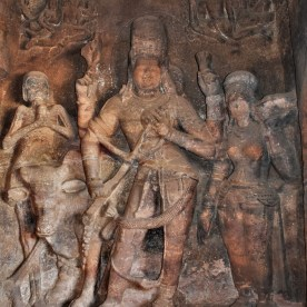 Sculptural relief depicting the story of Ardhanarishvara and sage Bhringi carved on the right side wall of the mukha mantapa in Cave - 1 located at Badami, Karnataka, India