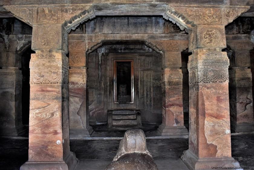 Garbhagriha entrance and pillars in Cave - 1 at Badami, Karnataka, India