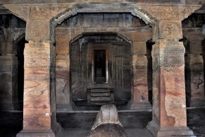 An interior view showing the garbhagriha entrance and pillars
