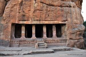 Facade and Entrance of Cave - 2 located at Badami in Karnataka, India