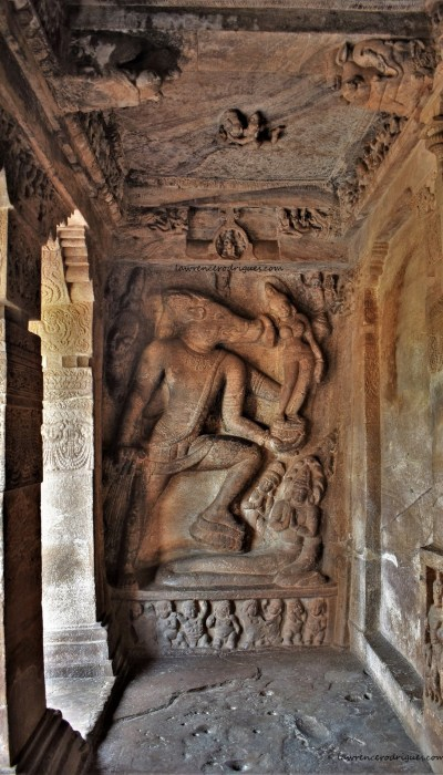 Sculptural relief depicting Varahavatara, Vishnu's third avatara, carved on the left side wall of Cave - 2 in Badami, Karnataka, India