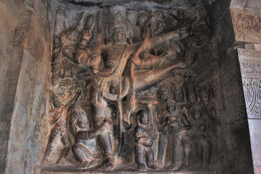 Vamanavatara relief depicting Mahabali, Vamana, and Trivikrama in Cave - 2 of the four rock-cut caves of Badami, Karantaka, India