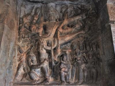 Vamanavatara relief depicting Mahabali, Vamana, and Trivikrama in Cave - 2 in Badami, Karantaka, India