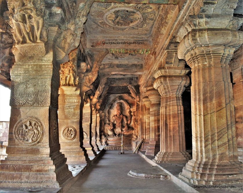 Maha Vishnu seated on Adishesha in Cave - 3 located near Badami in Karnataka, India