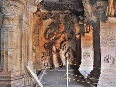 Sculptural relief depicting Narasimhavatara, fourth of the ten avatars of Vishnu, carved in Cave - 3 of the Badami Caves in Karnataka, India