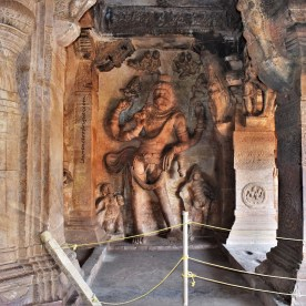 Sculptural relief depicting Narasimhavatara, the fourth of the ten avatars of Vishnu, carved in Cave - 3 of the Badami Caves in Karnataka, India