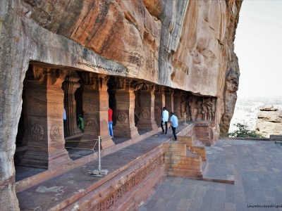 Facade and Entrance of Cave - 3, the third of the four caves in Badami located in Karnataka, India
