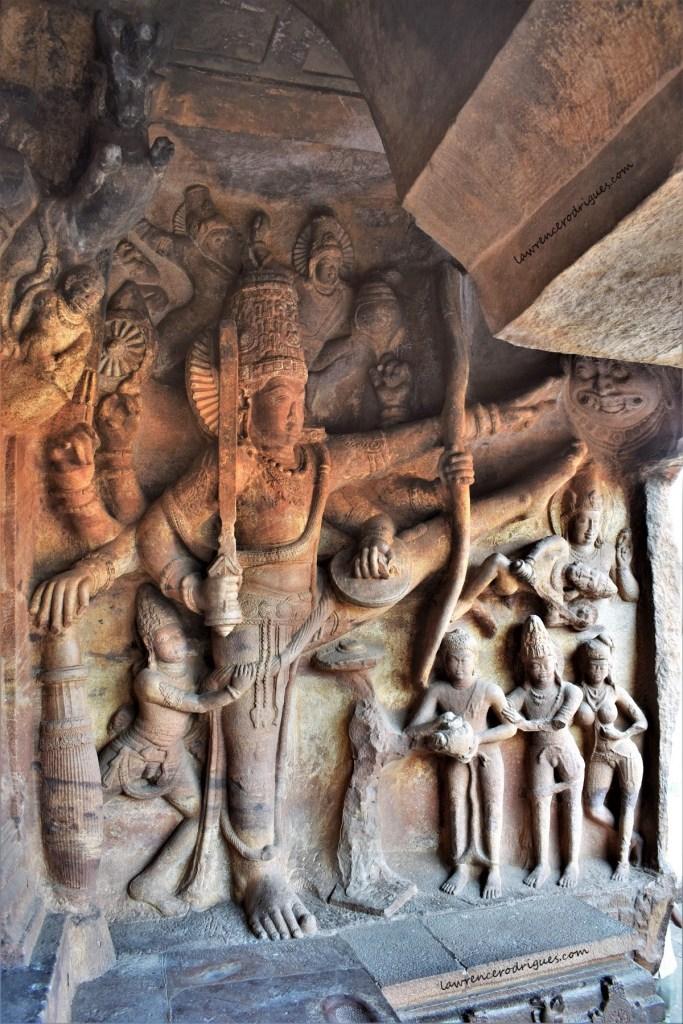 Vamanavatara relief depicting Mahabali, Vamana, and Trivikrama in Cave - 3, the third of the four rock-cut caves of Badami in Karantaka, India
