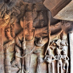 Vamanavatara relief depicting Mahabali, Vamana, and Trivikrama in Cave - 3, the third of the four rock-cut caves of Badami in Karantaka, India