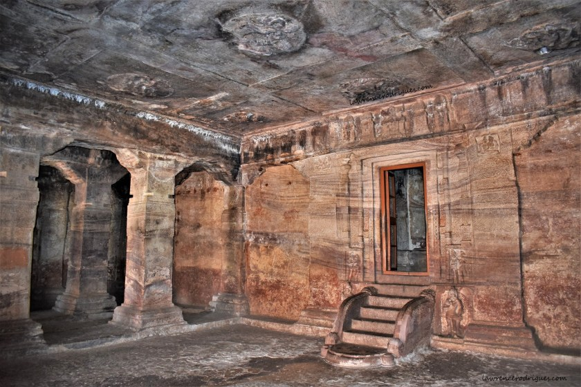 Garbhagriha and Sabhamantapa of Cave -3, the third of the rock-cut temples of Badami in Karnataka, India