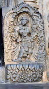 Rathi at the main entrance of the Belur Chennakeshava Temple in Karnataka, India