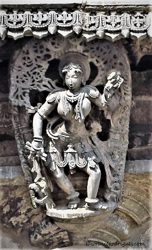 Koravanji, the fortune teller - A shilabalike mounted on a pillar on the exterior wall of the Chennakeshava Temple in Belur, Karnataka
