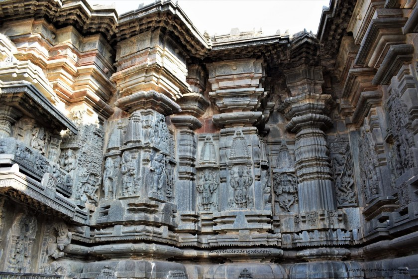 Outer wall surrounding the garbhagriha on the south side of the Belur Chennakeshava Temple in Karnataka, India