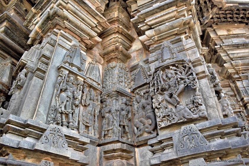 Gajasura and Bhairava on the south outer wall surrounding girbagriha of the Belur Chennakeshava Temple in Karnataka, India