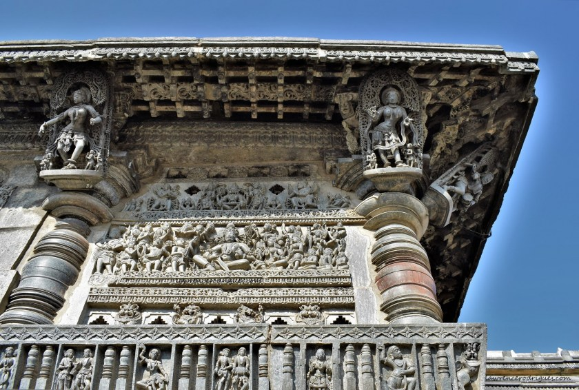 Hoysala King Veera Ballala II carved on the left side jalandhra of the front facade of the Belur Chennakeshava Temple, Karnataka, India