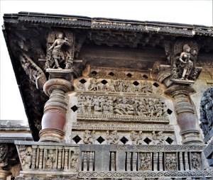 Jalandhra and bracket figures on the left section of the main entrance of the Belur Chennakeshava Temple, Karnataka, India