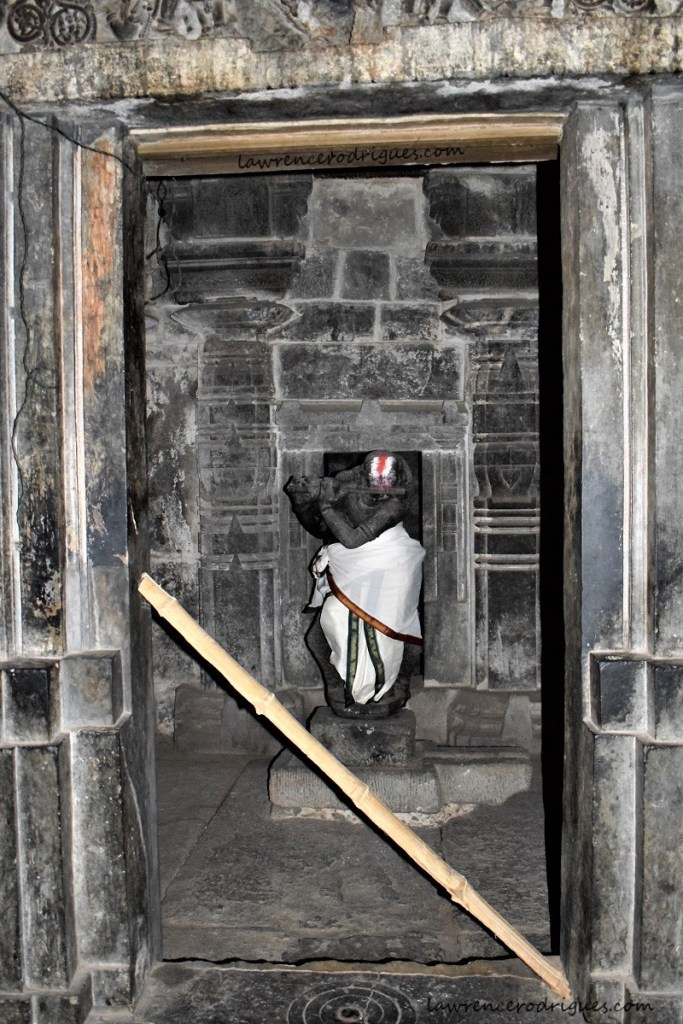 Venugopala standing in the south garbhagriha of the Kappe Chennigaraya Temple situated inside the Belur Chennakeshava Temple complex in Karnataka, India