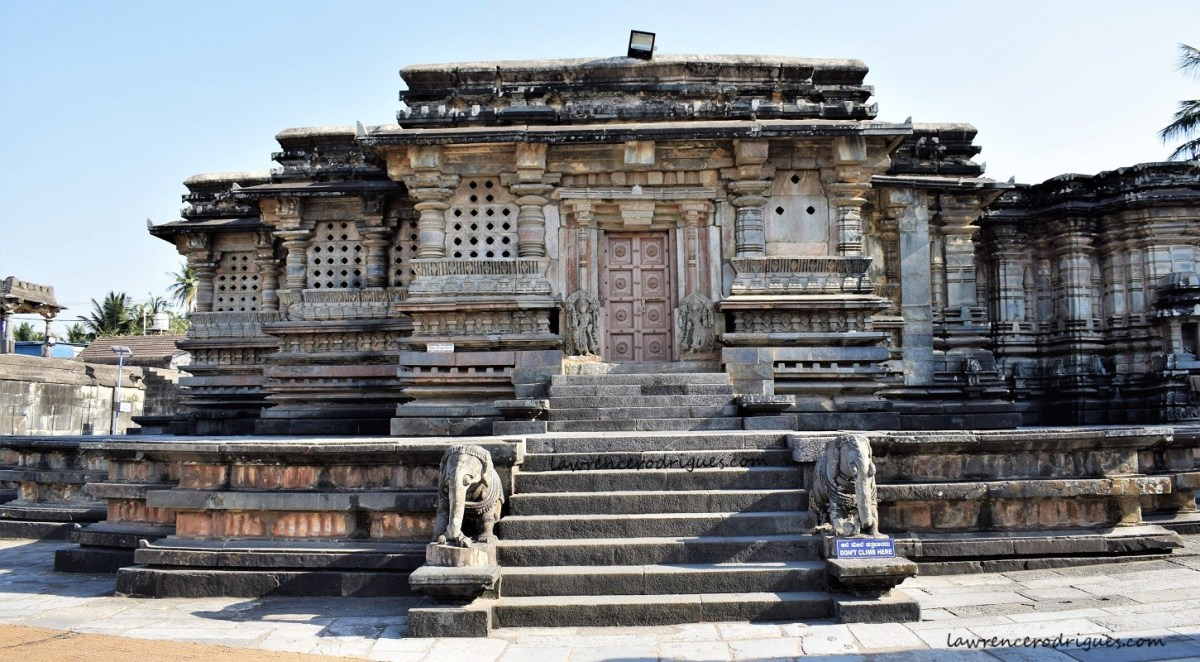 North facade of the Kappe Chennigaraya Temple situated inside the Belur Chennakeshava Temple complex in Karnataka, India
