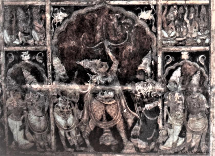 Sita Swayamvara - Rama lifting the bow - a mural painted on the ceiling of the Virupaksha Temple in Hampi, Karnataka, India