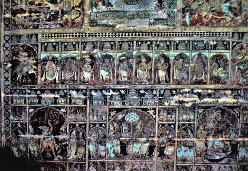 Dashavatara and Rama Sita Wedding painted on the ceiling of the Virupaksha Temple in Hampi, Karnataka, India