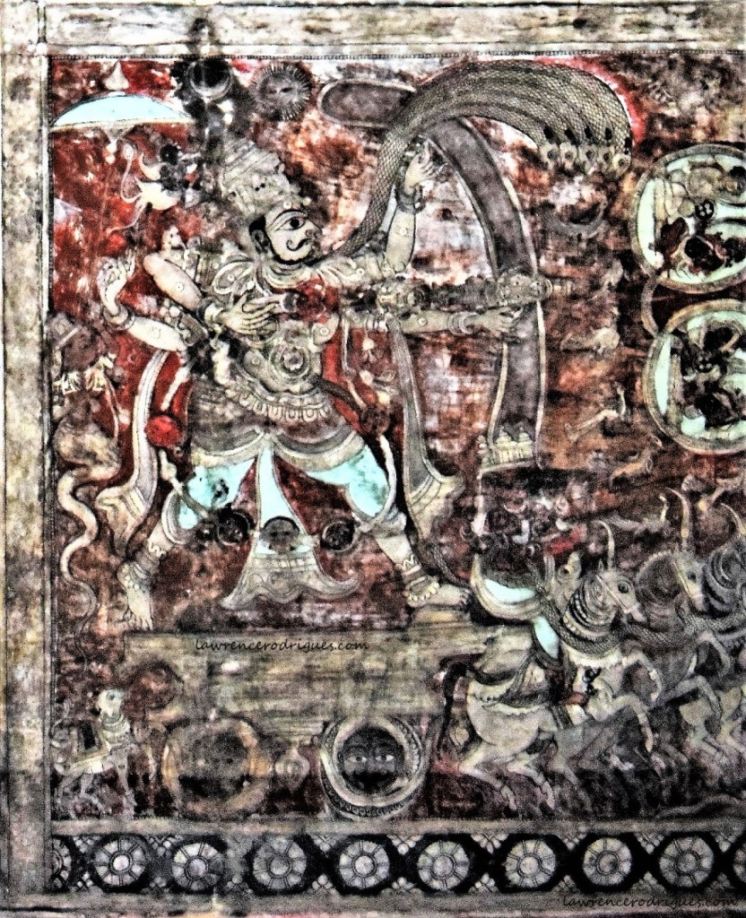 Tripurantaka - Shiva's incarnation destroying three aerial cities - painted on the ceiling of the Virupaksha Temple in Hampi, Karnataka, India