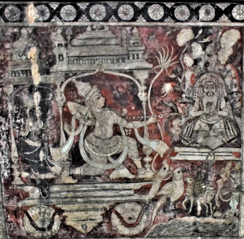 Hamp Virupaksha Temple Murals - Manmatha Vijaya - Kama shooting Kāmabānas at Shiva