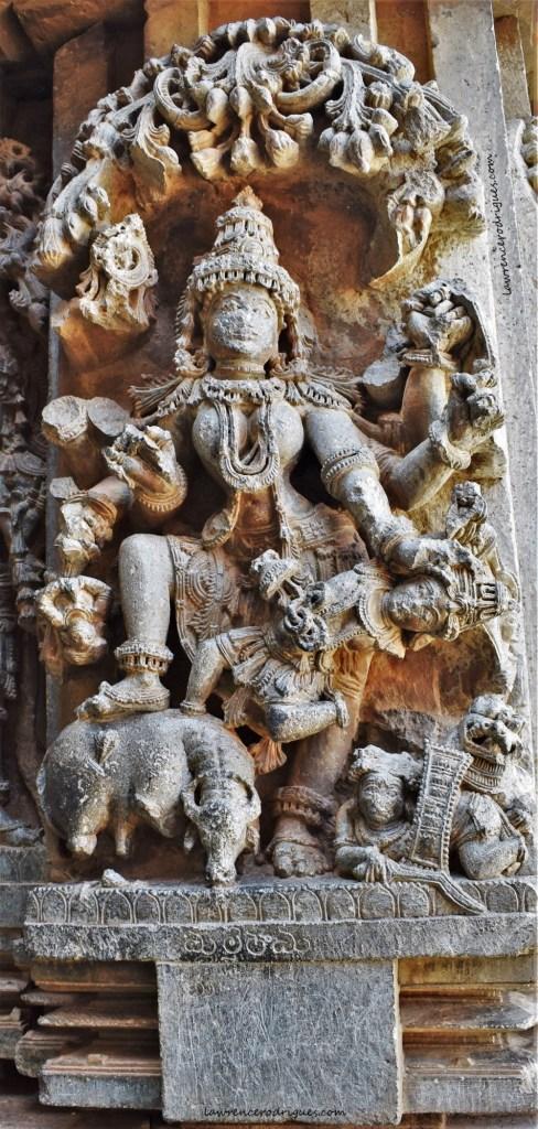 Mahishasuramardini - A narrative relief depicting Durga slaying Mahishasura mounted on the outer wall of the Somanathapura Keshava Temple in Karnataka, India